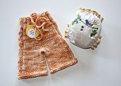 Singing of Spring set - organic embroidered fitted & cabled merino shorties - newborn