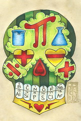 19 Science Sugar Skull (Danger S. Jones) Tags: blue red orange green yellow tattoo dayofthedead mexico skull star flask heart geometry flash science pi chemistry math rockabilly diadelosmuertos calculus division beaker addition multiplication calavera sugarskull periodictableofelements subtraction shannonjones dangersjones