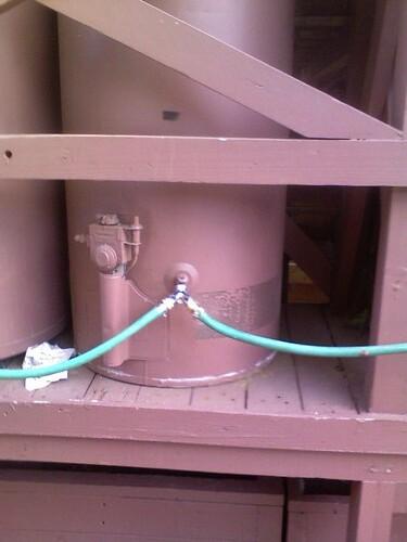 network of water heater rain barrels