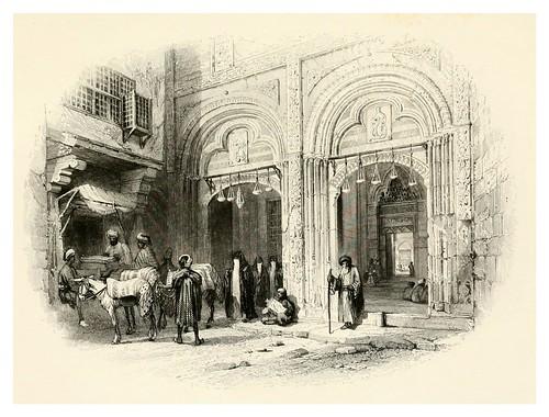 026-Entrada a la mezquita El-Azhar en el Cairo-Bartlett, W. H. 1849