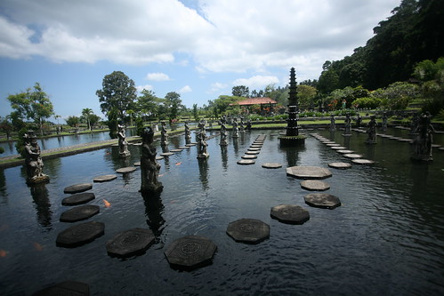 Tirta Gangga panorama of the stepping stones