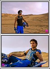 The Blue Beast in The Desert (Najwa Marafie - Free Photographer) Tags: blue portrait model nikon desert body lifestyle location beast kuwait puma thor cloths 2009 nader the najwa d3x nonoq8 nstudio marafie wwwnphotographerscom almosawi