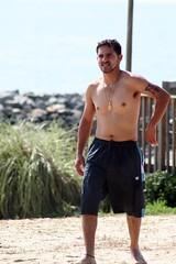 Stranger on the Beach (Tobyotter) Tags: man male guy beach pits tattoo virginia huntingtonbeach jamesriver newportnews shritless armppits