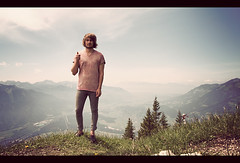 I went to the top of a mountain (Alex Catt) Tags: selfportrait mountains alps austria thumbsup bludenz selftimer canon40d alexcatt