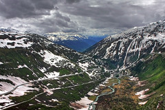 Furka Pass, Switzerland (**Anik Messier**) Tags: road snow mountains horizontal river landscape switzerland suisse tranquility rhne rivire valley neige paysage rhine hdr chemin montagnes rhineriver swissalps valle furka furkapass mywinners anawesomeshot theperfectphotographer