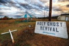 This Way to the Holy Ghost Revival (Stuck in Customs) Tags: road signs church colors clouds composition dark lost fire worship texas sad place darkness christ cross shot god spirit empty faith ghost religion jesus dramatic down lord tent grace baptism holy direction missionary abandon soul depression bible feeling portfolio capture thesunset trey environs dramaticlighting praise brimstone ending pity oldfashioned brenham revival creepiness depressionera d3x theenvirons tentrevivals