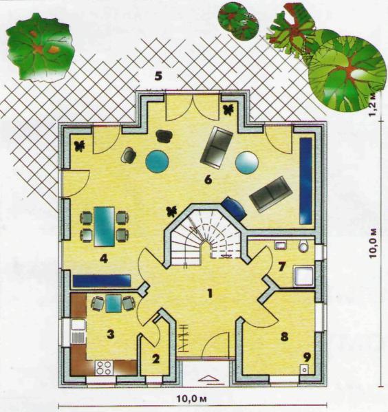 Нижний этаж: 1 - прихожая 15,3 м2; 2 - кладовка 2,0 м2; 3 - кухня 8,6 м2; 4 — столовая; 5 — терраса; 6 — гостиная (вместе со столовой) 42,5 м2; 7 — душ-туалет 4,2 м2; 8 — техническое помещение 7,9 м2; 9 — котёл.