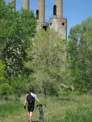 Walk, Don't Bike, To Your Nearest Creepy Smokestack! (Boumtown) Tags: bicycle centuryride umorepark gopherordanceworks rosemountmn bikeride20090524 flickr20090616