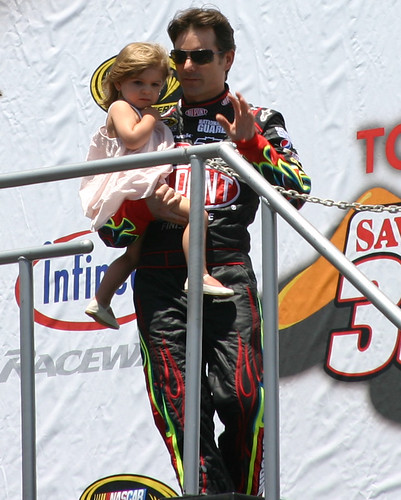 Jeff Gordon and Daughter Ella at driver introductions at Infineon Raceway. Photo Credit: ME