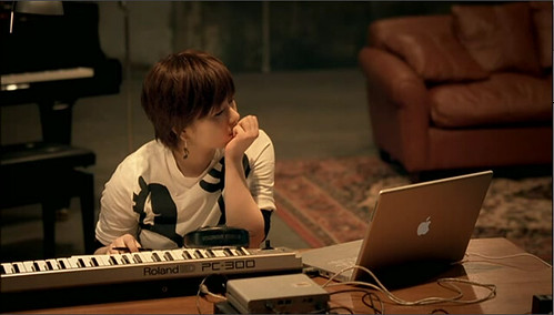 Hikaru Utada uses her Apple Powerbook