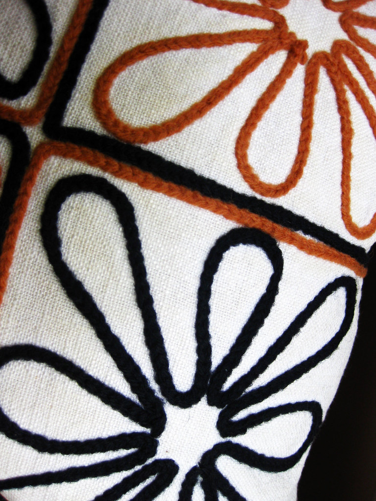 Mid Century Modern Decorative Embroidered Pillow