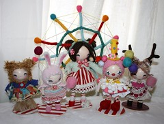 carnival dolls (the poppy tree) Tags: china bear carnival pink sculpture flower rabbit bunny art wool girl vintage doll dolls lace buttons stripes clown balloon plush deer clay ferriswheel cottoncandy prize magnet papermache goers needlefelted