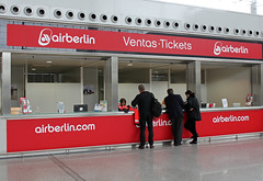 Air Berlin - Malaga International Airport, Spain (tossmeanote) Tags: trip travel airport spain counter ticket terminal airline t3 aeropuerto malaga airberlin airberlincom tossmeanote