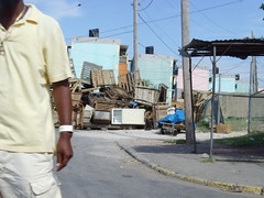 The barricades outside Tivoli Gardens, Kingston Jamaica (bbcworldservice) Tags: world school girls boys gardens tivoli town athletics downtown assignment champs christopher coke lord kingston bbc jamaica drug service 2010 denham dudus