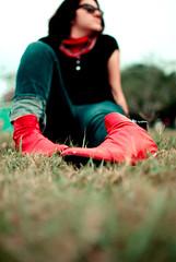 (Isai Alvarado) Tags: red portrait sun sunlight cinema hot tree sexy film smile field grass 35mm movie glasses bush eyes nikon focus dof desert boots bokeh cine handkerchief cinematic wale dx thieve wafle wets d80 valusshka