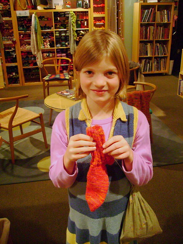 """A"" and her finished sock"