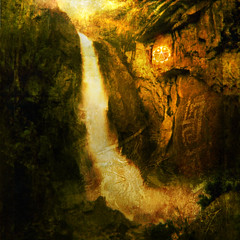 Sacred Flow (ElenaRay) Tags: travel brown art fall nature water sign rock illustration america river flow freedom photo waterfall energy symbol native surrealism indian release religion fine surreal belief american yosemite sacred reality americana mystical wilderness magical petroglyph consciousness shamanic preservation letgo