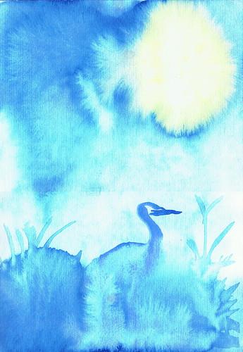 Heron under Moonlight