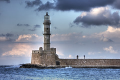 'take our picture' at the lighthouse in chania:  30/365 (helen sotiriadis) Tags: winter sea sky lighthouse canon harbor picture creta greece crete 365 hdr chania  photomatix  canon70200f28lisusm  canon40d   toomanytribbles