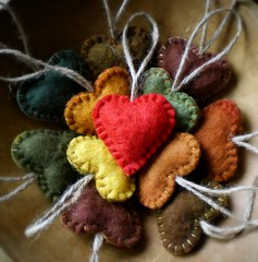 hearts hearts hearts (lilfishstudios) Tags: wool hearts handmade craft felt ornaments earthy repurposed lilfishstudios