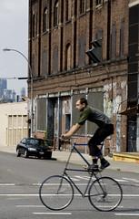 Double-Decker Bicycle (johnwilliamsphd) Tags: nyc newyorkcity urban copyright newyork bike bicycle brooklyn john williams c hipster double cycle williamsburg custom doubledecker decker  300000 doublebicycle williams john johncwilliams doubledeckerbicycle johnwilliamsphd phd