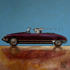 Citroen DS Cabrio, the birth of cool (edartr) Tags: blue classic car painting square cool blauw acrylic citroen ds canvas dots cabrio dalmatian classique classico acrylverf thelittledoglaughed 50x50cm