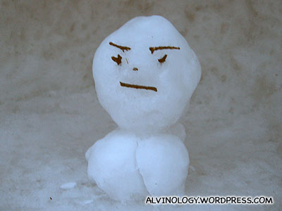 Sad-looking snowman