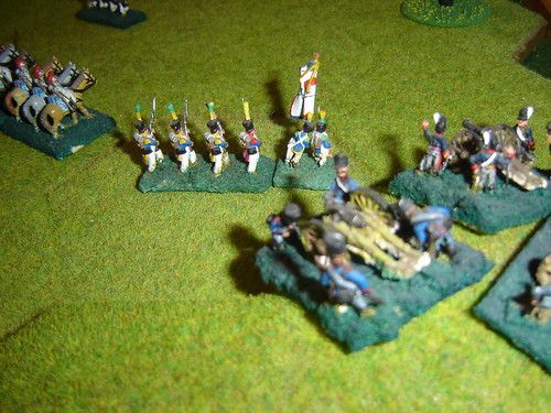 Newly arrived Prussian artillery pours fire into flank of the French infantry