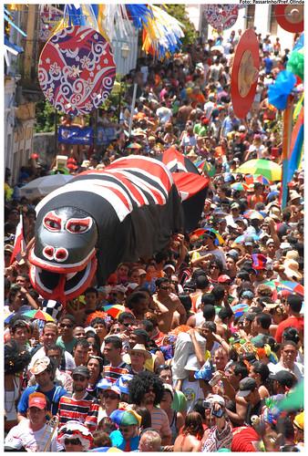 Troça Carnavalesca Ofídica Minha Cobra tem concentração na rua Coronel João Beltrão - Foto: Passarinho/Pref.Olinda