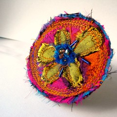 Mimi Brooch (fancypicnic) Tags: quilting etsy silks fabricjewellery sarisilk textilejewellery collagewithfabric