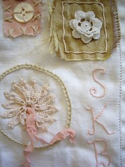 stitching sampler (skblanks) Tags: pink flowers roses brown white hearts french ruffles cross stitch lace embroidery buttons crochet cottage mother cream silk velvet pearls romantic ribbon pearl chic rayon rhinestone buckle seam knots bows binding shabby bouillion monograms ruching