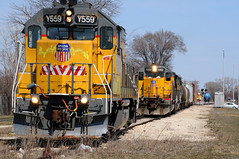 This is the most freight action in Crystal Lake in over 30 years thanks to me! (extra156west) Tags: railroad lake up train illinois crystal 559 1362 1361 718 emd 551 cnw gp15