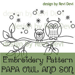 papa owl and son (revi1001) Tags: cute bird nature pattern handmade embroidery kawaii etsy brench