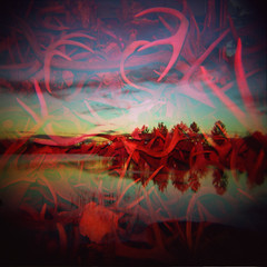 Entanglement (zach-o-matic) Tags: trees sunset film water animals analog austin mediumformat dead outdoors holga pond texas deadanimals doubleexposure toycamera 120film redflash antlers multipleexposure austintexas pile creatures remains holga120 lakepark colorflash plasticcamera austintx multiexposure holga120cfn muellerpark muellerdevelopment muellerlakepark