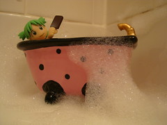 """""""Nothing Like a Hot Bath and a Cold Ice Cream"""" (Dreaming Magpie) Tags: pink green ice water girl bar toy bath mess doll bubblebath chocolate manga cream bubbles clean plastic icecream tub messy bubble clover yotsuba revoltech bubleseverywhere"""