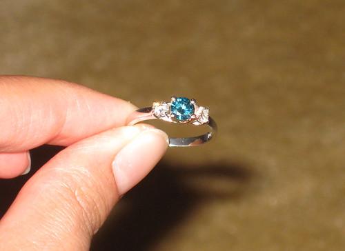Blue diamond ring from St. Thomas
