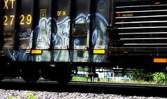 Acero (mightyquinninwky) Tags: graffiti streak tag tracks tags tagged rails spraypaint boxcar graff graphiti gravel acero trainart rollingstock paintedtrain railart steelwheels woodenslats csxt moniker movingart abigfave denvercamera paintedboxcar denver256 bestofformyspacestation