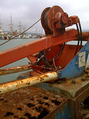 Rusty crane and Clipper Ships (2composers) Tags: sanfrancisco blue red pier boat fishing ship commerce waterfront view crane vessel wharf sail fishermanswharf mast clipper iphone compositionsphotography