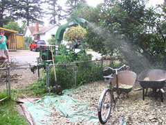 Chip day at the farm_1 (METROFIETS) Tags: green beer bike bicycle oregon garden portland construction paint nw box handmade steel weld coat transport craft cargo torch frame pdx custom load 2009 woodstove builder haul carfree hpm stumptown paragon chrisking shimano custombike cargobike handbuilt workbike bakfiets cycletruck rosecity crafted 4130 bikeportland braze longjohn paradiselodge seattlebikeexpo nahbs movebybike kcg phillipross bikefun obca jamienichols boxbike handmadebike metrofiets oregonmanifest matthewcaracoglia palletbike oregonframebuilder seattlebikeshow bikefarmer
