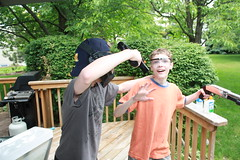 Nate and Austin playing airsoft