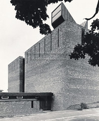 GKC/CEK/2/2/30 St Bride's, East Kilbride - 1963 (Glasgow School of Art Archives & Library) Tags: windows architecture scotland doors exterior unitedkingdom bricks masonry churches architectural practice kidd gillespie firm gkc modernist 1963 eastkilbride glasgowschoolofart gillespiekiddandcoia stbrides presbytery coia romancatholicism copperclad southlanarkshire blackandwhitephotographs lightcannons isimetzstein andymacmillan archivesandcollectionscentre workingarchive