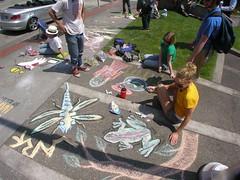 College Kids Draw in Chalk