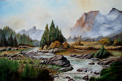Landscape - Oil painting (AvQuu) Tags: trees mountains rio river landscape stones paisagem canvas oil paysage pedras pintura montanhas rvores tela cubism blueribbonwinner leosobretela pinturaaleo anawesomeshot