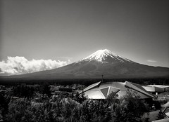 Mount Fuji seen from Fuji-Q Highland (miyamiyamiyamiya) Tags: park bw mountain fuji amusementpark mtfuji