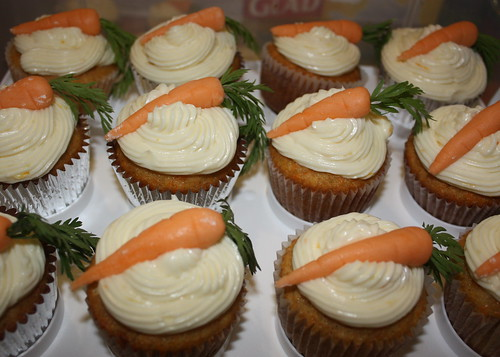 Carrot-Ginger Cupcakes with Orange-Ginger Frosting and mini marzipan carrots