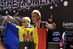 Moldova på pressekonferansen etter at det ble klart at de går  videre til finalen.