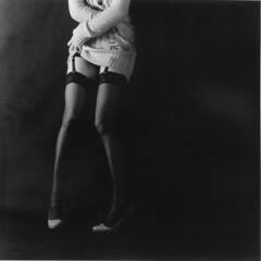 . (czarnobialykwadrat!) Tags: bw woman white black 120 6x6 coffee girl face analog mediumformat pose square poland negative b