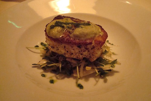 Pan-Roasted Halibut with Wasabi Cream and Pea Shoot Slaw