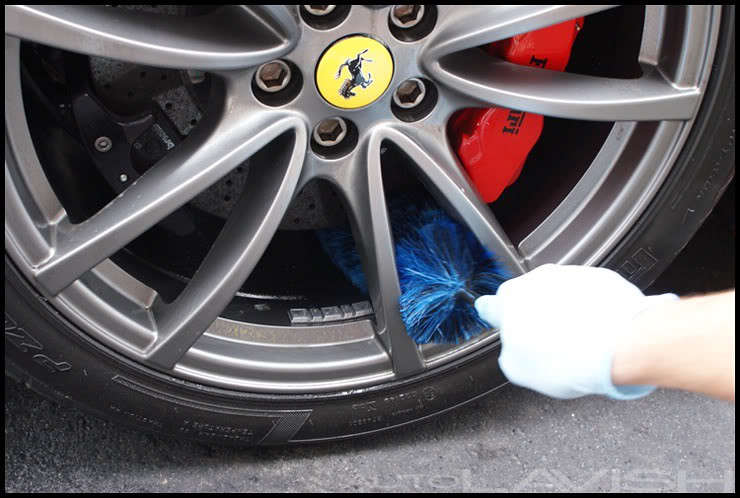 ez detail brush wheel cleaning on a ferrari 430