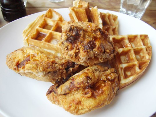 chicken & waffles w/ syrup @ back forty